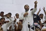 Congress Vice President Rahul Gandhi addressing MCD workers