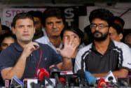 Congress Vice President Rahul Gandhi meeting agitating students of the FTII