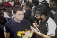 Congress Vice President Rahul Gandhi meeting agitating students of the FTII