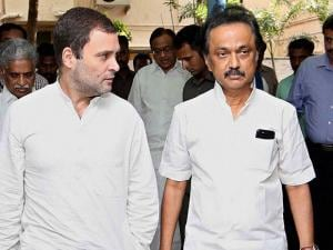 Congress Vice-President Rahul Gandhi and DMK treasurer MK Stalin leave Kauvery hospital after visiting DMK party chief 92-year-old Karunanidhi