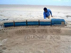 and artist Sudarsan Pattnaik created a sculpture on on Rail budget 2016 with message India's life line  at Puri beach of  Odisha