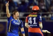 Rajasthan Royals' player Shane Watson celebrates the wicket of dd's Shreyas Iyer