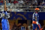 Rajasthan Royals' player Stuart Binny celebrates the wicket of Angelo Mahews