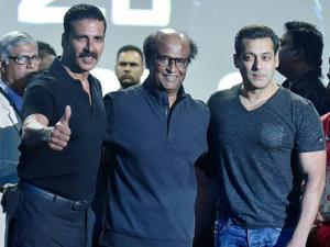 South Super star Rajinikanth along with bollywood actors Akshay Kumar and Salmaan Khan during the Rajinikanth's 2.0 first look launch