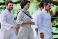 Rahul Gandhi with sister Priyanka Vadra and brother-in-law Robert Vadra