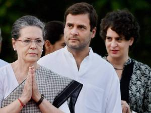 Sonia Gandhi with Rahul Gandhi and Priyanka Vadra