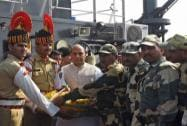 Union Home Minister Rajnath Singh with BSF jawans at BSF floating BPO