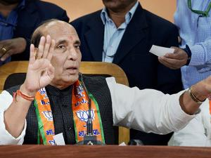 Home Minister Rajnath Singh addesses a press conference at party headquarters in Lucknow