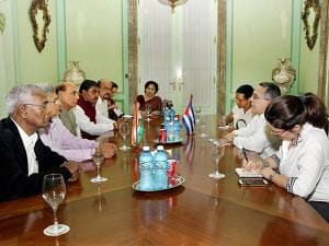 Rajnath Singh meets the acting Foreign Minister of Cuba Marcelino Medina in Havana
