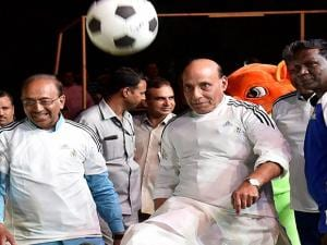 Union Home Minister Rajnath Singh kicks a  football  during an event 'OORJA By CAFP U-19