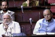 Prime Minister Narendra Modi and Finance Minister Arun Jaitley in the Rajya Sabha