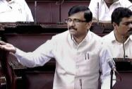 Shiv Sena member Sanjay Raut speaks in the Rajya Sabha