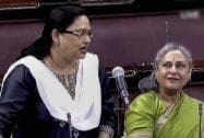 SP member Kanak Lata speaks as Jaya Bachchan looks on, in the Rajya Sabha