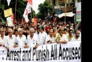 Left party leaders take part in a rally in Kolkata on Monday