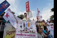 Students and Youth activists at a protest rally aganist Saradha Chit Fund scam