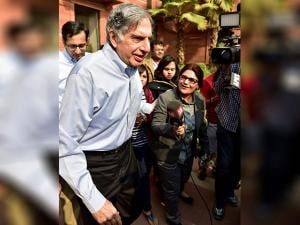 Tata Sons Chairman Ratan Tata  after meeting Finance Minister Arun Jaitley