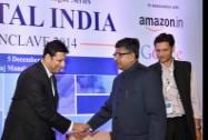 Ravi Shankar Prasad shakes hand with Amit Agarwal, Vice President and Country Manager, Amazon