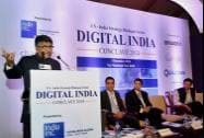Ravi Shankar Prasad with others release a copy of magazine during  Digital India Conclave-2014