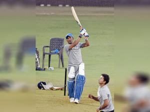 MS Dhoni during a practice session in Mumbai