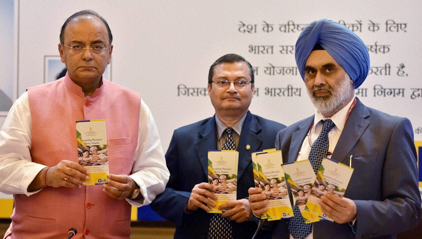 Union Finance Minister, Arun Jaitley, Gurdial Singh Sandhu, Secretary Financial Services, LIC Chairman, S K Roy