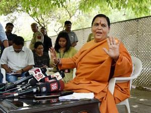 Uma Bharati addressing a press conference at her residence in New Delhi