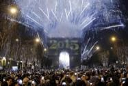 Fireworks explode over St.Basil's Cathedral as people celebrate
