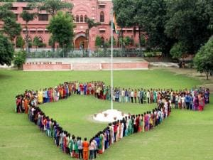 College girls celebrates Independence Day