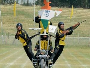 Daredevils of Jammu and Kashmir Police perform during the full dress rehearsal for Independence Day