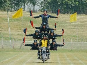 Female daredevils of Jammu and Kashmir Police perform during the full dress rehearsal for Independence Day