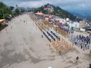 Himachal Pradesh police personnel during full dress rehearsal for Independence Day