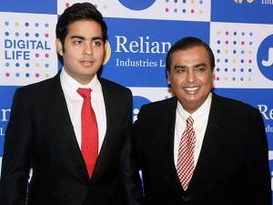 Mukesh Ambani, Chairman, Reliance Industries Ltd. with son Akash Ambani