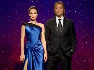 Madame Tussauds shows wax figures of  Angelina Jolie Pitt and Brad Pitt