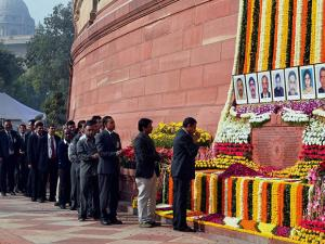 Parliament staff paying tributes to the martyrs of 2001 Parliament attack