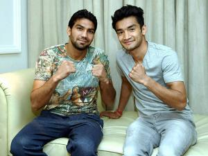 Indian boxers Manoj Kumar and Shiva Thapa  members of Indian contingent for Rio Olympics 2016