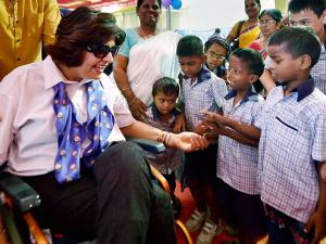 Deepa Malik at a private school in Chennai