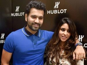 Cricketer Rohit Sharma with his wife Ritika Sharma during a promotional event for Hublot in Bengaluru