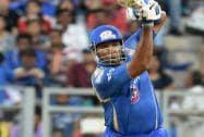 Mumbai Indians bowler Malinga celebrates a wicket of Royal Challengers Bangalore batsman Chris Gayle