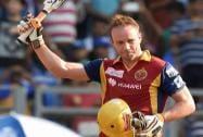 Royal Challengers Bangalore batsman De Villiers celebrates his century against Mumbai Indians