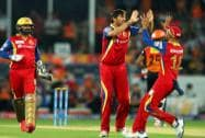 David Wiese of the Royal Challengers Bangalore celebrates the wicket of Shikhar Dhawan