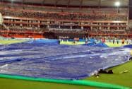 Rain cover being brought on ground during IPL 8 match between Sunrisers Hyderabad and Royal Challengers Bangalore