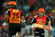 Shikhar Dhawan of the Sunrisers Hyderabad  and David Warner