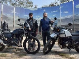 Siddhartha Lal, MD & CEO, Eicher Motors Ltd (L) and Rudratej Singh, president, Royal Enfield at the launch of Himalayan