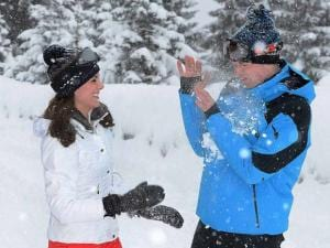 Britain's Prince William and Kate Duchess of_Cambridge enjoy a snow ball fight as they enjoy a short private break skiing in the French Alps