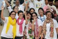 Young girls jubilate during the 'Run for Unity' at Rajpath on the occasion of Sardar Vallabhbhai Patel's birth anniversary