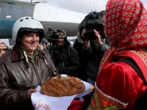 Russian pilot who returned from Syria is welcomed with traditional bread-and-salt at an airbase near the Russian city Voronezh