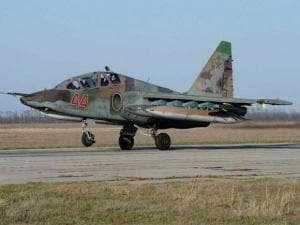 Russian Su-25 ground attack jet lands after return from Syria at a Russian air base in Primorsko-Akhtarsk, southern Russia