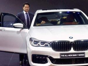 Sachin Tendulkar at the launch of BMW 7 Series car