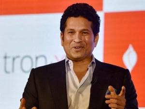Cricket legend Sachin Tendulkar at an event to unveil the Ultrabook convertible t.book and premium smartphone t.phone at a function in New Delhi