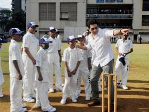 Cricket legend  Sachin Tendulkar celebrates his 43rd birthday by playing cricket with children from the 'Make-A-Wish India' organisation in the city in Mumbai