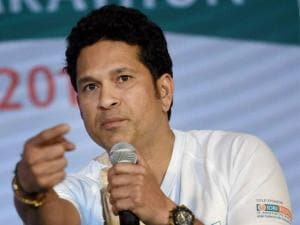 Cricketer Sachin Tendulkar during the announcement of the IDBI Federal life insurance Mumbai half marathon in Mumbai.